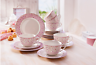 Kaffeeservice Service Kaffee Blüten Blumen rosa Dekor 18tlg Bone China weiß NEU
