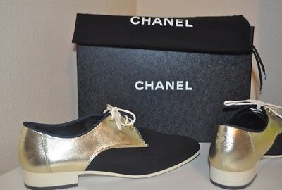 NIB CHANEL 17C Black Gold CC Lace Up Loafer Moccasin Oxford Flat Shoe 39.5 - 9.5