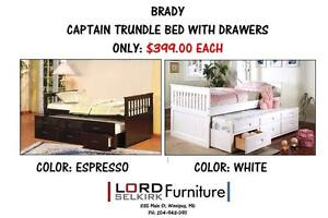 LORD SELKIRK FURNITURECAPTAIN BED WITH TRUNDLE & DRAWERS$399.