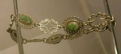 Vintage BEAU STERLING SILVER Filigree & JADE Link Bracelet Elegant NICE!!