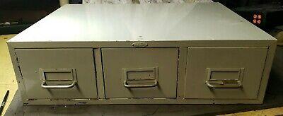 Vintage Cole Steel Three Drawer Card File Cabinet