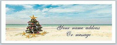 30 Personalized Return Address Labels Beach Christmas Buy 3 Get 1 free (ac298)