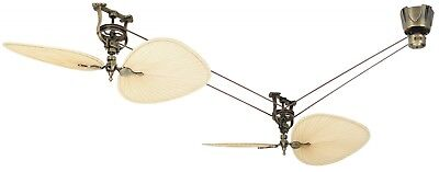 Fanimation THE BREWMASTER Belt Driven Ceiling Fan Antique Brass / Natural Palm