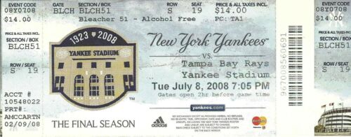 JULY 8 2007 NEW YORK YANKEES TAMPA BAY RAYS FINAL SEASON UNUSED TICKET STUB