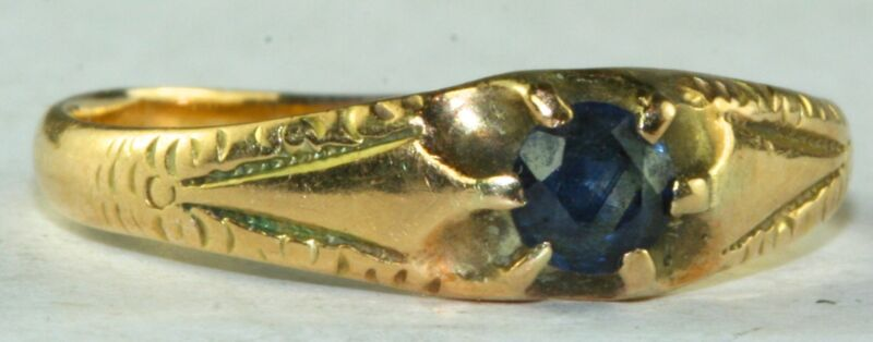 VICTORIAN ANTIQUE 14K GOLD SAPPHIRE RING SIZE 6.5