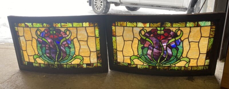 PAIR OF VICTORIAN LEADED STAINED GLASS CURVED WINDOWS