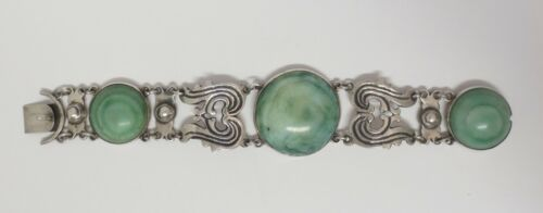 """Antique Sterling Silver Green Onyx Bracelet Mexico Calcite Stone Hand Made 8"""" L"""