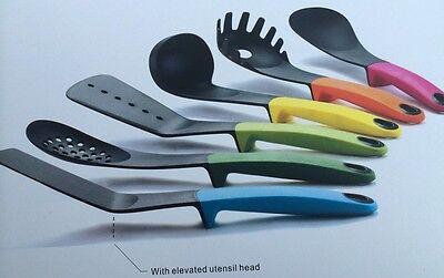6-Piece Germ Heat Resistant Elevated Utensil Set Kitchen Gadget Soft Grip Colors ()