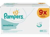 9 pks of Pampers Sensitive Baby Wipes
