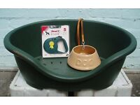 PLASTIC DOG BED, BOWL, LEAD (used) & FLEXI LEAD (new). COLLECTION ONLY