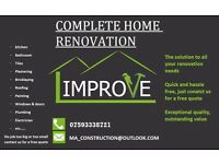 Complete Home Renovations, Plastering, Tiling, Brickwork, Roofing, Plumbing, Electrician, Painting