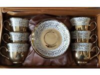 NEW PORCELAIN 12PC CHINA TEA / COFFEE SET GOLD DESIGNER PRINT