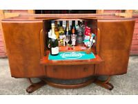 Beautility Walnut Sideboard Cocktail Bar Drinks Cabinet Teak Retro Vintage Delivery Available