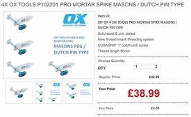 4X OX TOOLS PRO MORTAR SPIKE MASONS/DUTCH PIN TYPE