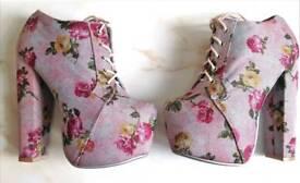 Ladies Floral Schuh Platform Boots