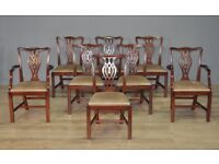 Good Set Of Eight 8 Chippendale Style Large Mahogany Dining Chairs with Carvers