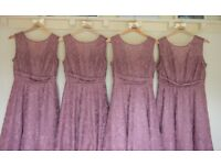 Stunning Mauve lace Bridesmaids Dresses from John Lewis sizes 8,8,10 and 12
