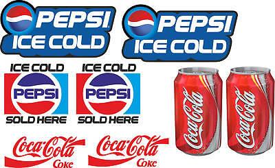 8 laminated cold drink catering stickers for ice cream van snack pepsi coca cola