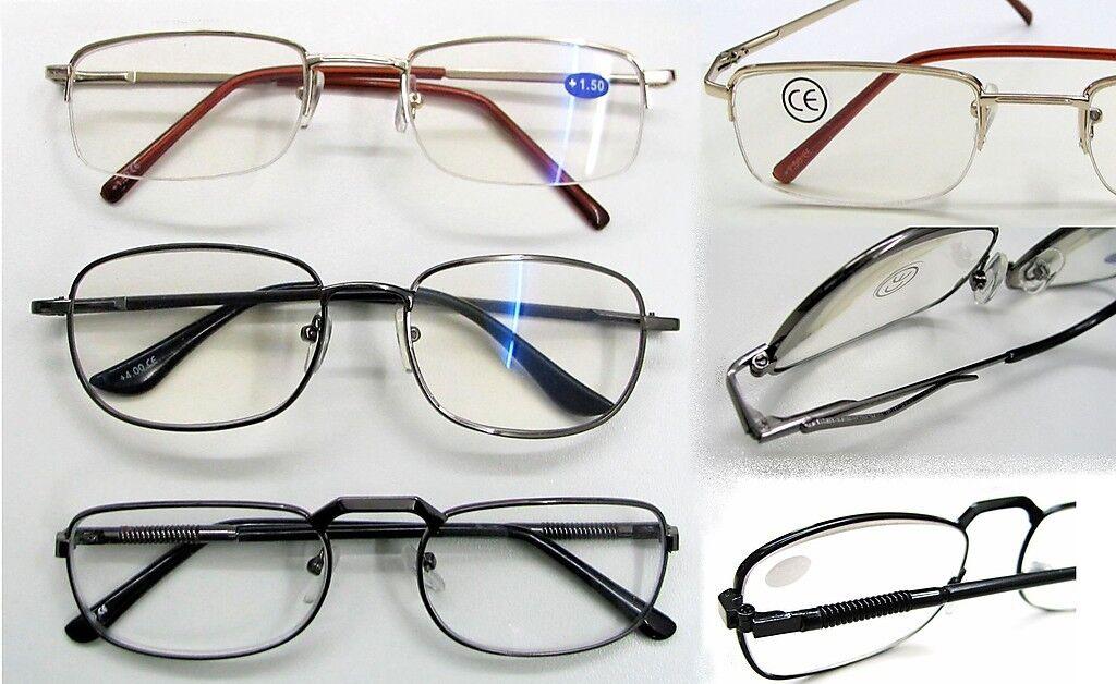 Herren Lesebrille Brille Lesehilfe DPT: +1,5 +2,0 +2,5 +3,0 +4,0 Metallgestell