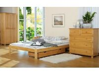 Pine Wood Bed Frame 4FT Small Double Size 120x190 Furniture with Slats Drawer