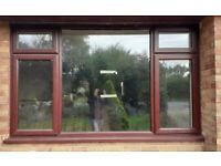 Rosewood (White Internally) uPVC Window 2520 x 1555