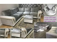 FREE POUFFE with SCS crushed velvet corner sofa