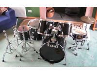 Tama Granstar (piano black) drum kit w/ highhat, add'l Pearl Signature Series, snare drum w/case