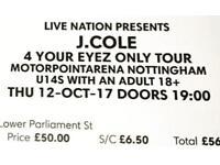 J Cole Tickets - Nottingham - Standing - 12/10/2017