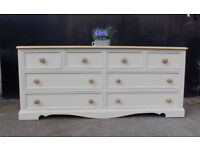 Large painted pine chest of drawers