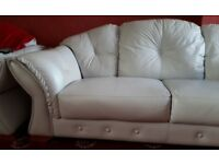 Leather Sofa and 2 Armchairs - Colour Light Grey / Duck Egg Blue