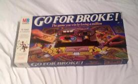 VINTAGE MB GAMES 1985 GO FOR BROKE BOARD GAME. GOOD CONDITION.