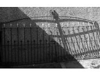 Large driveway wrought iron gates for sale. Includes opening latch x2 dropbolts.Excellent condition