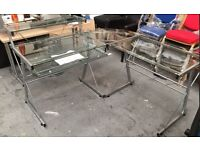 glass corner office desk table computer brand new home study
