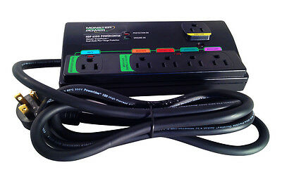 Monster HDP 650G Green Power Surge Protector - 6 Outlets - Black - 2160 Joules