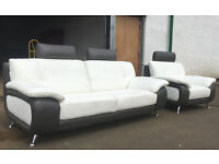 3 seater and chair leather sofas gray/ivory leather DELIVERY AVAILABLE
