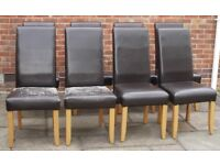 8 x FAUX LEATHER DINING CHAIRS – LIGHT OAK WOOD LEGS - £5 PER CHAIR
