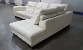 Designer Natuzzi Real Italian Leather L-Shape Corner Sofa