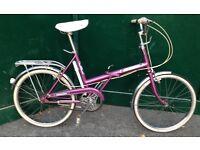 Nice Vintage LADIES'/GENTS' folding bicycle Raleigh Shopper Twenty TOWN fold up BIKE