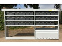 Van Racking / Shelving / Storage Boxes - SORTIMO - 36 Boxes - Pipe Carrier - Cupboard