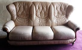 Leather suite - settee and two matching armchairs