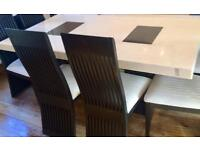 Barker&StoneHouse Marble Table and 6 Chairs, Also matching lamp table