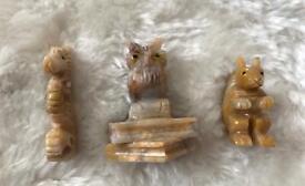 Miniature Soapstone Set of 3 Animals VGC