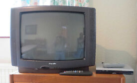 "21"" TV (CRT type, Pacific brand) and digital receiver box. Remotes included. Good working order."