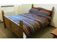 Antique pine double bed frame for sale