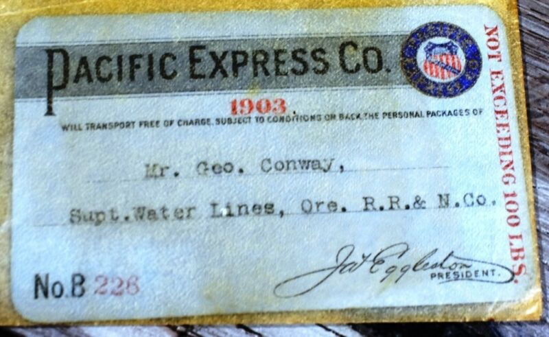 1903 Pacific Express Co. railroad annual pass Mr. Geo. Conway