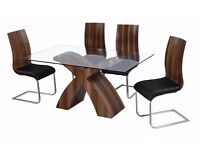 Holte Glass Dining Table Walnut Colour 6 CHAIRS