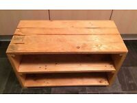 Rustic Style Shoe Organizer / Storage Shelf Unit made from reclaimed wood and finished with Beeswax.