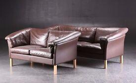 Danish vintage Borge Mogensen style 1970's two-seater leather sofa