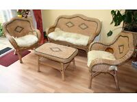 Wicker Sofa, Chairs and Table Set