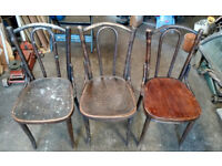 Vintage Ercol Thonet Fischel Bentwood style Dining Chairs Spindle Back Mid Centery In Elm - Poland